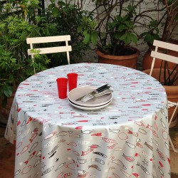 Superbe Wipe Clean Tablecloth Fish Grey Round Or Oval