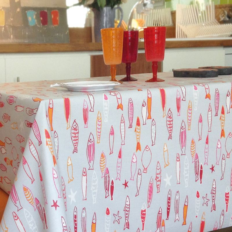 ... Wipe Clean Tablecloth Fish Red Round Or Oval ...