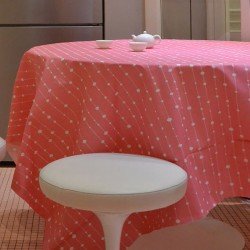 Charmant Wipe Clean Tablecloth Pearls Pink Round Or Oval
