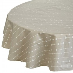 Wipe clean tablecloth Pearls beige round or oval