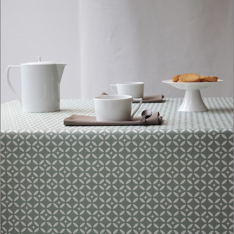 Wipe Clean Tablecloth Mosa 239 Que Green Wipeable