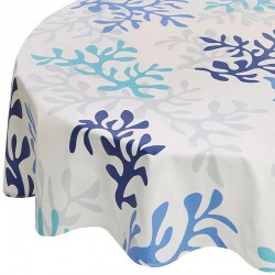 Wipe clean tablecloth Coral blue round or oval