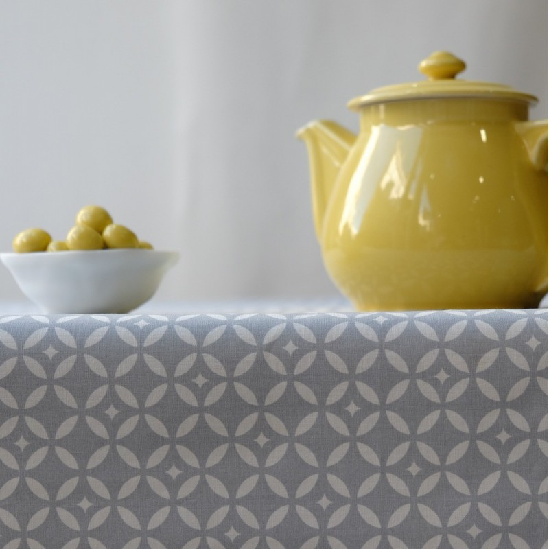 Great Wipe Clean Tablecloth Mosaic Grey Round Or Oval.