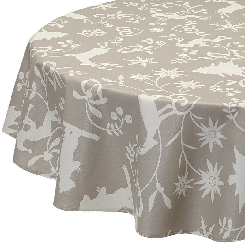 ... Wipe Clean Tablecloth Mountain Beige Round Or Oval ...