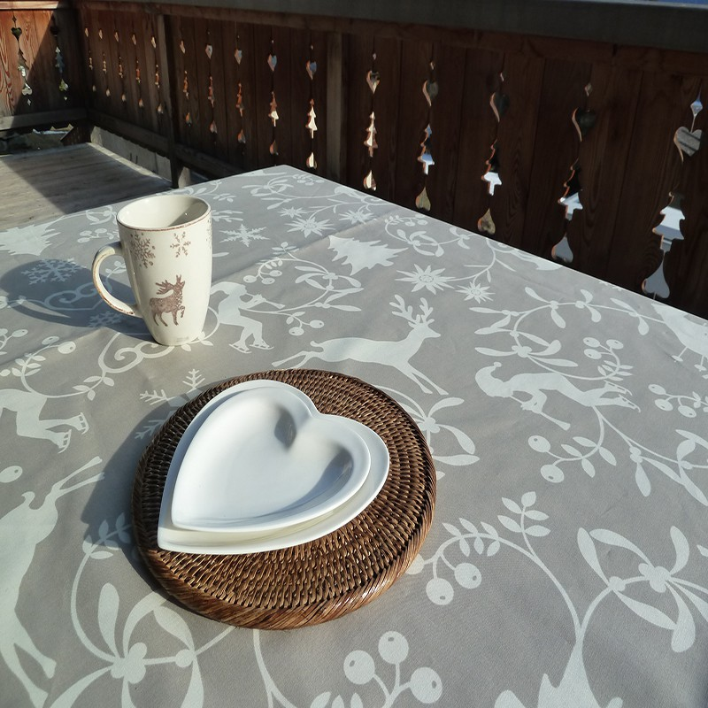 Wipe Clean Tablecloth Mountain Beige Round Or Oval.