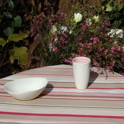 Wipe clean tablecloth brown patch round or oval