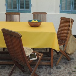 Wipe clean tablecloth Plain yellow round or oval