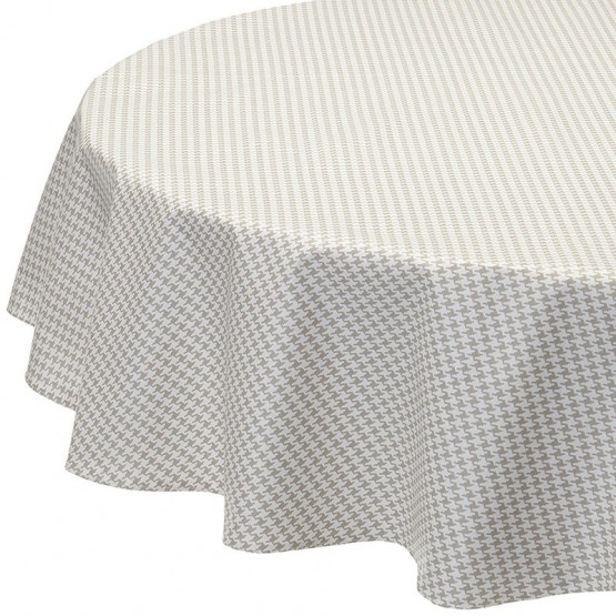Wipe clean tablecloth Hound's-tooth cloth grey round or oval