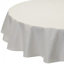 Wipe clean tablecloth Houndstooth grey round or oval