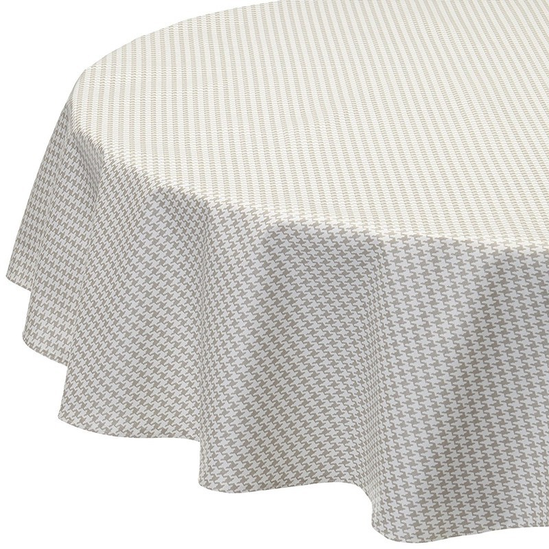 Wipe Clean Tablecloth Houndu0027s Tooth Cloth Grey Round Or Oval.