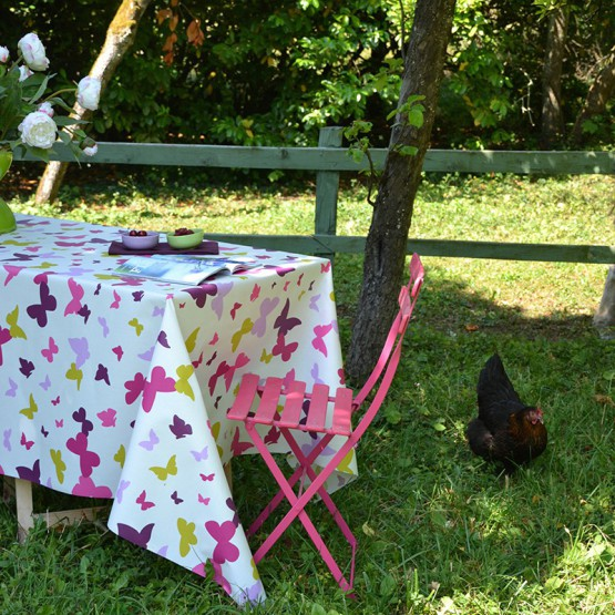 Wipe clean tablecloth Butterfly green/purple round or oval