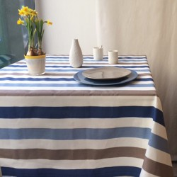 Wipe clean tablecloth Stripes blue/taupe round or oval