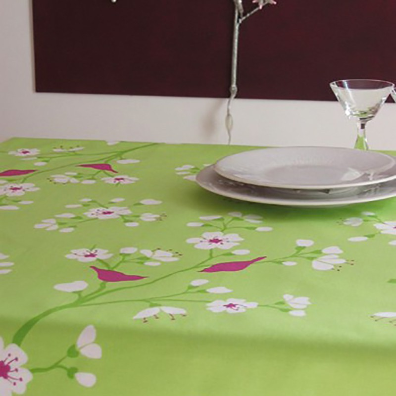 Wipe Clean Tablecloth Cherry Green Round Or Oval.