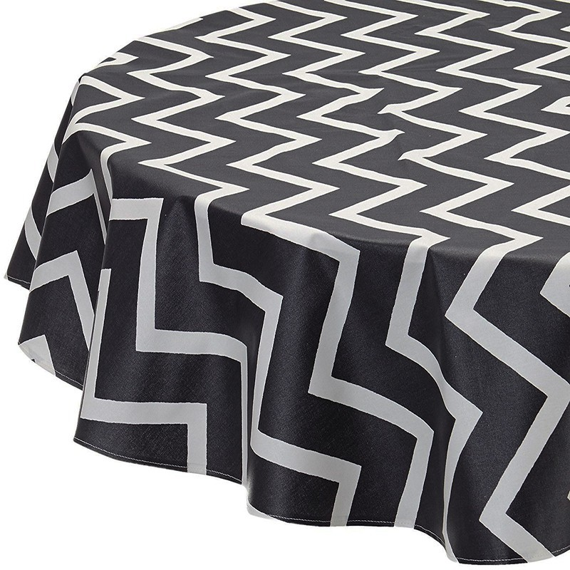 nappe enduite ronde ou ovale chevrons noir graphite. Black Bedroom Furniture Sets. Home Design Ideas