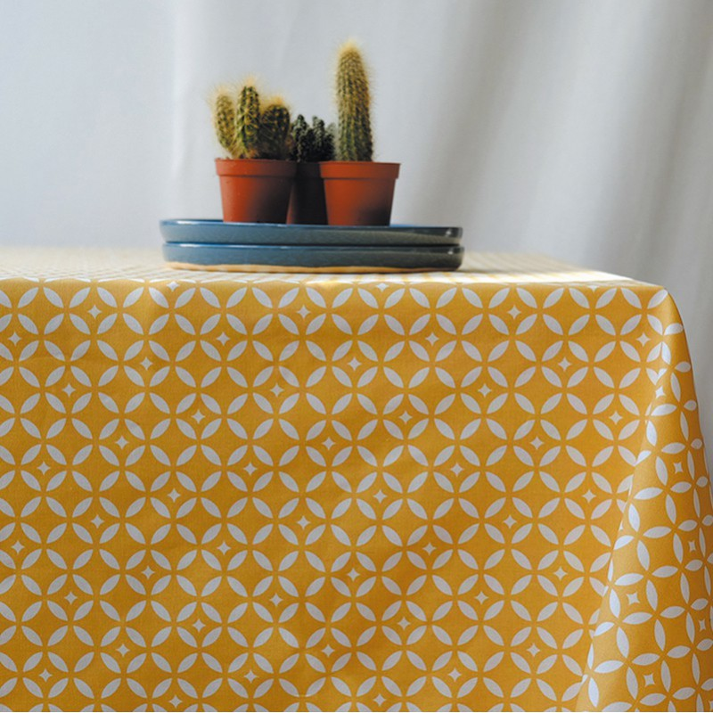 Wipe Clean Tablecloth Mosaic Curry Round Or Oval.