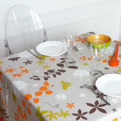 Wipe clean tablecloth Morning glories orange round or oval