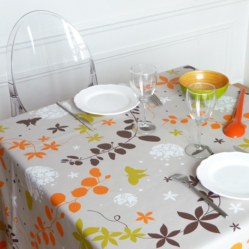 Wipe Clean Tablecloth Morning Glories Purple Round Or Oval ...