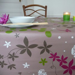 Wipe clean tablecloth Morning glories green/purple