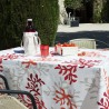 Wipe clean tablecloth Coral red