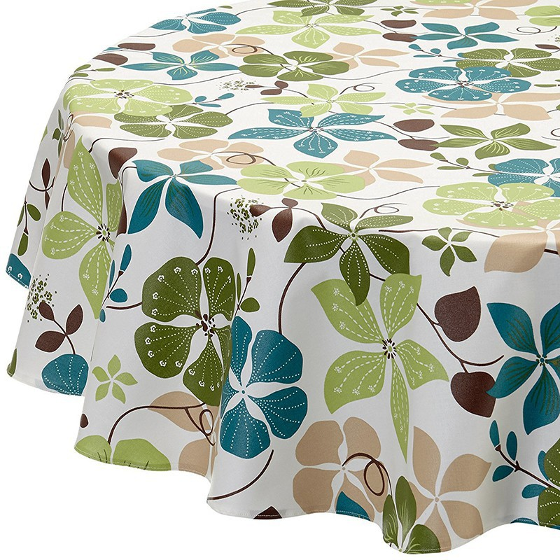 Wipe Clean Tablecloth Nasturtium Green Round Or Oval.