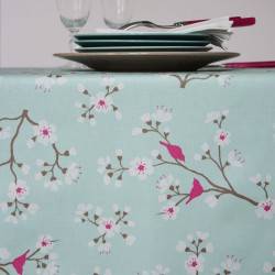 Wipe clean tablecloth Japanese Cherry blue turquoise round or oval