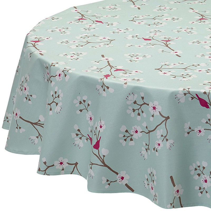 Charming ... Wipe Clean Tablecloth Japanese Cherry Green Round Or Oval