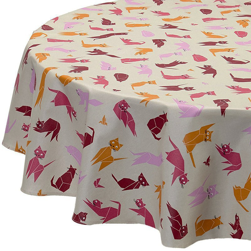 ... Wipe Clean Tablecloth Cats Pink Round Or Oval