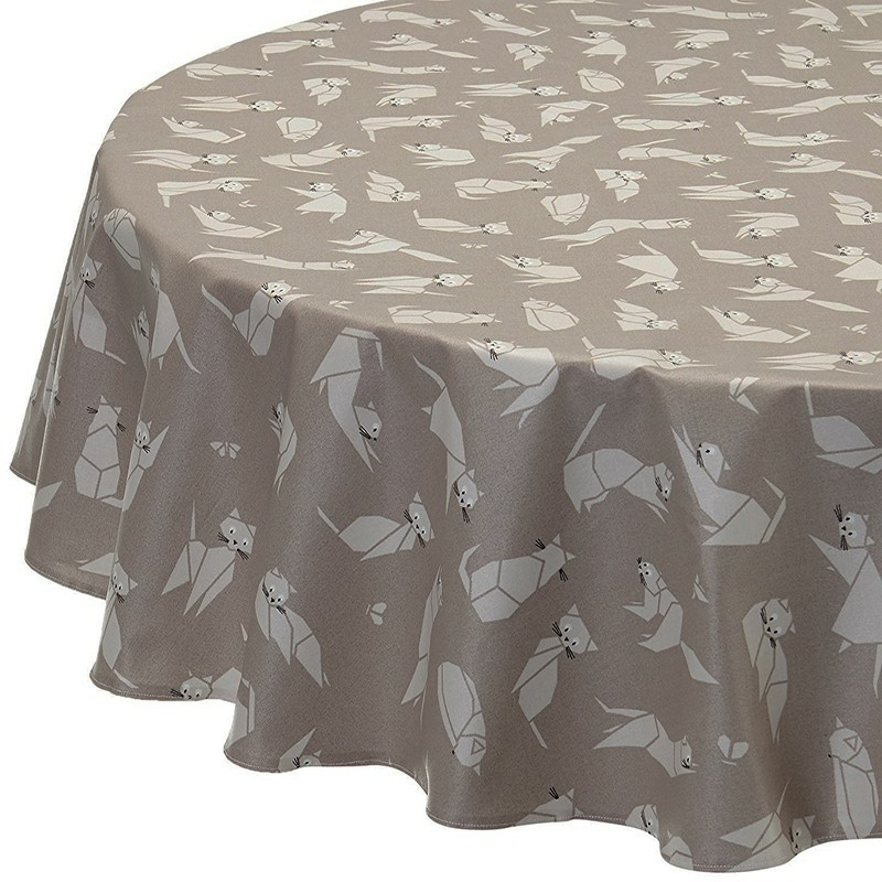 Ordinaire ... Wipe Clean Tablecloth Cats Taupe Round Or Oval