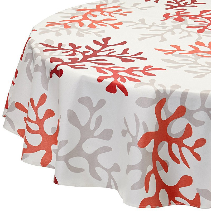 Wipe Clean Tablecloth Coral Red Round Or Oval.