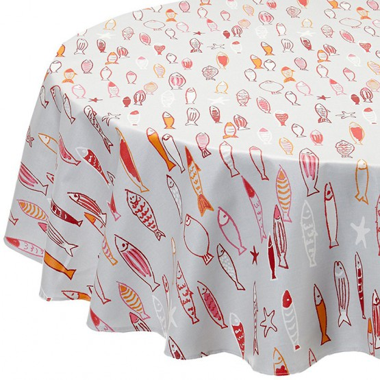Wipe clean tablecloth Fish red round or oval