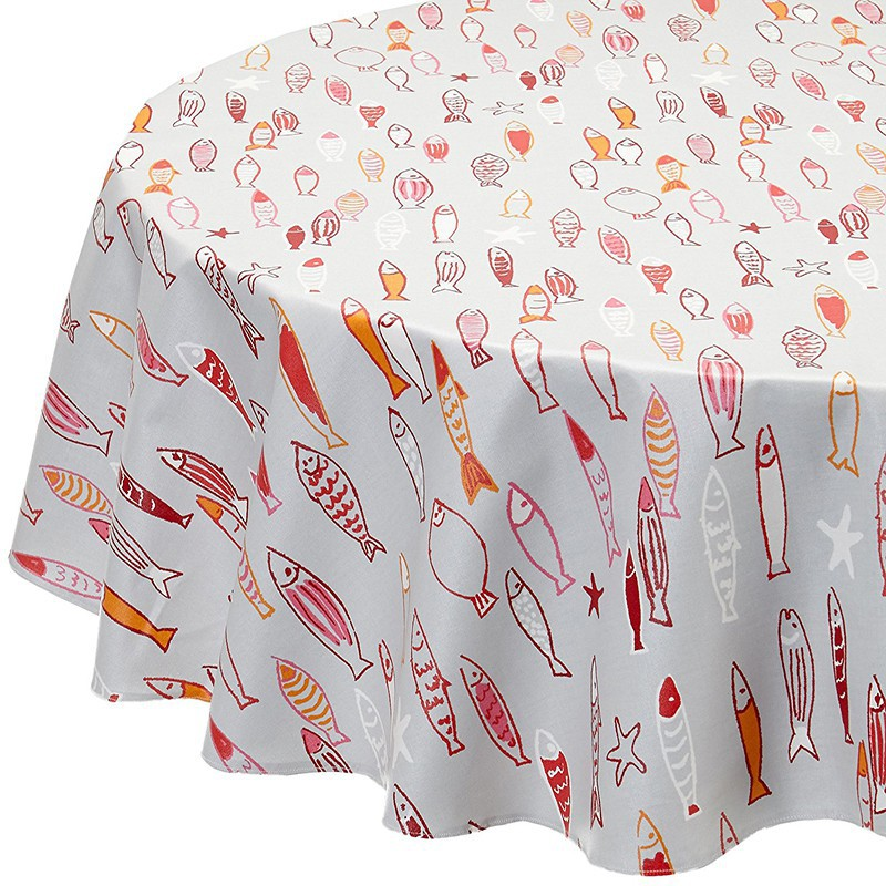Wipe Clean Tablecloth Fish Red Round Or Oval.