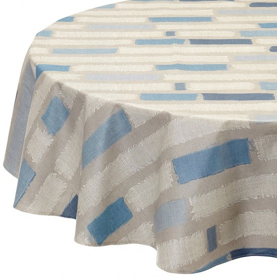 Wipe clean tablecloth Stripes Blue round or oval