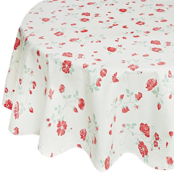 Wipe clean tablecloth Rose green round or oval