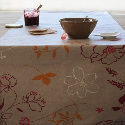 Wipe clean table runner Camellia orange