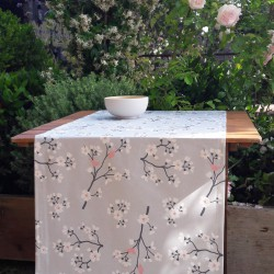 Table runner Japanese Cherry grey/pink