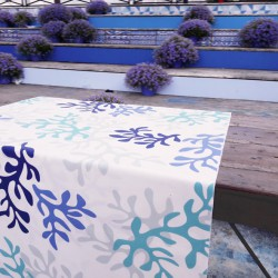 Table runner Coral blue