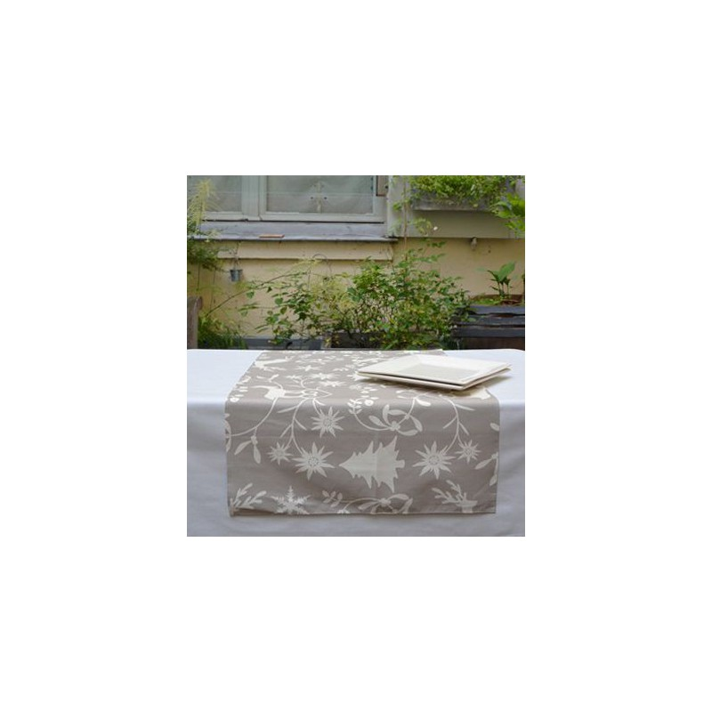 Chemin de table montagne beige anti tache 22 00 - Chemin de table beige ...