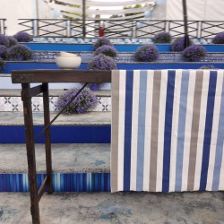 Table runner Stripes taupe/blue