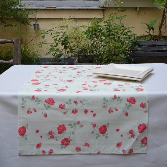 Chemin de table Rose rose/vert