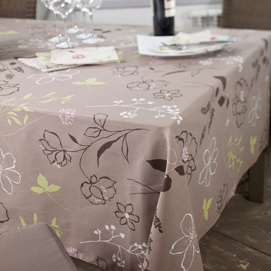 Cotton tablecloth Camelia taupe/pink