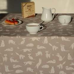 Cotton tablecloth Cats taupe