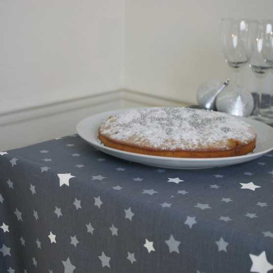 Cotton tablecloth Stars grey/silver