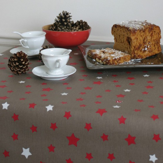 Cotton tablecloth Stars taupe/red