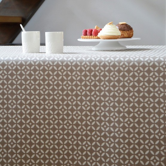Cotton tablecloth Mosaïque beige
