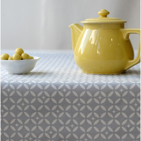 Cotton tablecloth Mosaïque grey