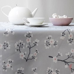 Wipe clean tablecloth Japanese Cherry Grey/pink