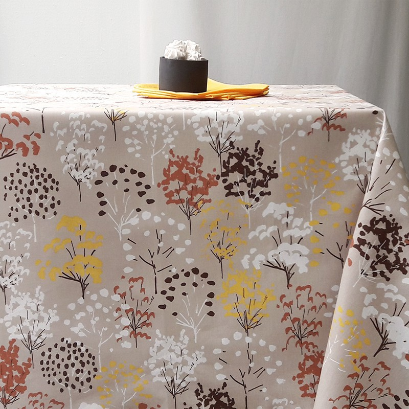 Wipe Clean Tablecloth Yellow Tree Round Or Oval.
