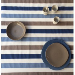 Wipe clean fabric Striped taupe/blue