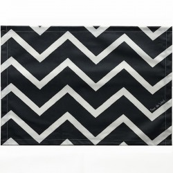 White and Black Table mats Chevrons Fleur de Soleil