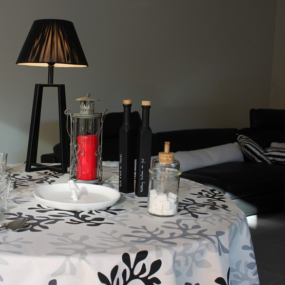Wipe clean tablecloth Coral grey round or oval